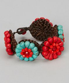 Another great find on #zulily! Turquoise & Red Stone Flower Bracelet by PANNEE JEWELRY #zulilyfinds