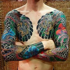Japanese tattoo sleeves by @baekwoon_tattooer. #japaneseink #japanesetattoo #irezumi #tebori #colortattoo #colorfultattoo #cooltattoo #largetattoo #armtattoo #chesttattoo #tattoosleeve #dragontattoo #flowertattoo #peonytattoo #blackwork #blackink #blacktattoo #wavetattoo #naturetattoo