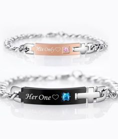 Personalized His Only and Her One Promise Bracelets.Lovely stone studded Stainless steel chain bracelet gift set is a symbol of infinite love and care among the couples. The words 'His Only' and 'Her One' are engraved on the bracelets for making the lovers feel really special and important. The semi precious stone studded in the centre of the bracelet reminds you of your special person.Visit https://www.uniquecoolgifts.com/