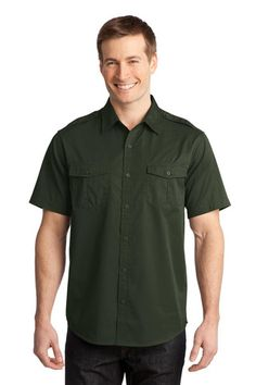 Port Authority® Stain-Resistant Short Sleeve Twill Shirt. S648 * $29.98
