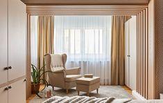 Apartament în București amenajat cu texturi de lemn   Adela Pârvu - Interior design blogger Lounge Areas, Home Interior Design, Minimalism, Curtains, Bedroom, Home Decor, Houses, Balconies, Interiors