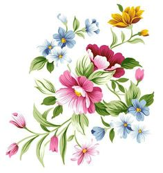 tole painting cute flowers and vines - Yahoo Image Search Results One Stroke Painting, Tole Painting, Fabric Painting, Art Floral, Motif Floral, Flower Spray, Flower Clipart, Round Stickers, Vintage Flowers