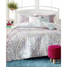 Sibella 5-Pc. Queen Comforter Set ($100) ❤ liked on Polyvore featuring home, bed & bath, bedding, comforters, multi, stripe comforter, floral queen comforter set, queen bed sets, floral bed set and stripe bedding