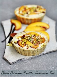 Baking  Peach Pistachio Ricotta Cheesecake Tart