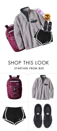 """""""WHY IS IT WARMMMMM"""" by mac-moses ❤ liked on Polyvore featuring The North Face, Patagonia, NIKE and CamelBak"""