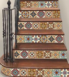 Stair riser Stickers, looks like real Mexican talavera tiles, just peel and stick for a stunning stairs! www.snazzydecal.etsy.com