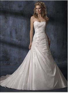 Attractive Taffeta A-Line Chapel Train Strapless Wedding Dresses Embroidering