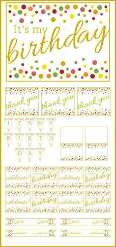 Free Gold and Polka Dot Birthday Printables   CatchMyParty.com