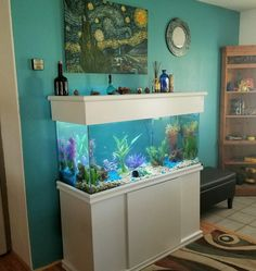 Aquarium Cabinet, Aquarium Stand, Home Aquarium, Aquarium Design, Colourful Living Room, Small Living Rooms, Saltwater Aquarium, Aquarium Fish, Fish Tank Cabinets