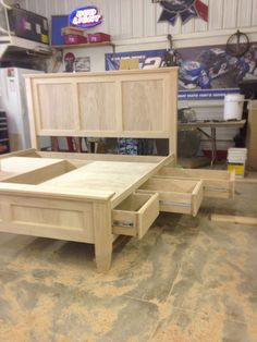 Custom bed -unfinished- made by Colby Peacock diy bed frame 17 Easy To Build DIY Platform Beds Perfect For Any Home Best Wood For Furniture, Diy Furniture Projects, Pallet Furniture, Furniture Plans, Farmhouse Furniture, Farmhouse Bed, Cheap Furniture, Antique Furniture, Bedroom Furniture