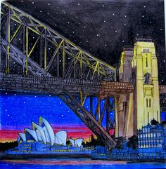 Sydney harbour and Opera House from Fantastic Structures.#fantasticstructures #fantasticstructurescolouringbook #stevemcdonald#sydney#australia#operahousesydney #harbour#adultcolouring #coloringbook #pencils#progresso