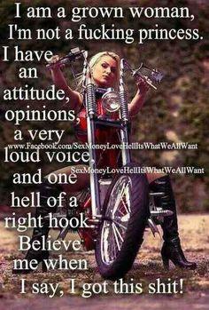 """""""Soy una mujer adulta, no una pinche pricesa, tengo actitud, opinion, hablo fuerte y un gancho al higado poca madre. Creeme cuando te digo que tengo todo bajo control"""" ✌️  #ActitudDisturbed #WomansMonth #DisturbedAttitude #DisturbedWomen #MujeresDisturbed #BikerGirl #HarleyGirl #BikerAttitude #BikerChick #HumpDay #DisturbedCulture #DisturbedTendencies"""