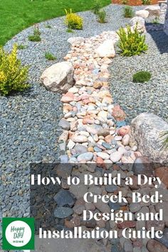 Today we're going to talk about dry creek beds, which consist of different types and sizes of non-organic rock, making them a hardscape element. Plants can be added to and around a dry creek bed, and usually are, making for a visually complementary hardscape/softscape combination. Modern Landscaping, Front Yard Landscaping, Landscaping Ideas, Backyard Ideas, Garden Ideas, Landscape Fabric, Landscape Design, Porch Garden, Patio