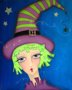 Winnie and Willard is a whimsical and funky fine art print, created from an original mixed-media painting by Joann Loftus. The perfect piece for Whimsical Halloween, Whimsical Art, Halloween Images, Halloween Crafts, Halloween Illustration, Witch Art, Halloween Wallpaper, Mixed Media Painting, Types Of Art