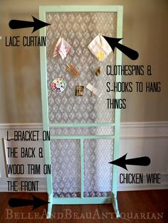 How to make an organizer, room divider, or craft show display using a screen door.