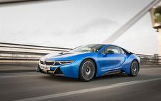 Lataa kuva BMW i8, 4k, 2018 autoja, liikkeen, sinisen i8, superautot, BMW