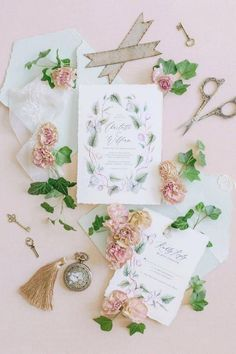 A stationery suite painted pretty. 🍃 What's more welcoming than a soft, hazy color palette?! @floraisondesignco splashed these invitations with a romantic and whimsical design, all done with watercolor. 🖌   Photography & Styling: @jessicamangia_photography #stylemepretty #weddinginvitations #springwedding Wedding Envelopes, Floral Wedding Invitations, Bridal Shower Invitations, Wedding Stationery, Invites, Wedding Centerpieces, Wedding Table, Wedding Decorations, Watercolor Wedding