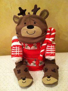 Reindeer diaper cake Christmas diaper cake by TeensyTinyBabyGifts