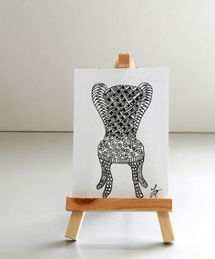 THE CHAIR Pen and Ink Abstract Zentangle Style by MyHumbleJumble, $7.50