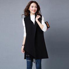 Korean fashionable Long Tassel Cardigan Waistcoat