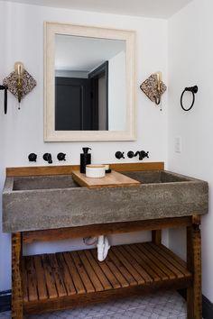 The double vanity in the master bath has a concrete trough sink with a wood slab… – Diy Bathroom Remodel İdeas Trough Sink Bathroom, Wood Floor Bathroom, Concrete Bathroom, Bathroom Flooring, Small Bathroom, Tile Floor, Bathroom Ideas, Bathroom Pink, Shiplap Bathroom