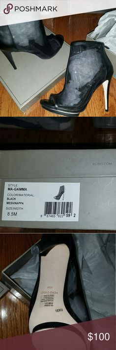 BCBG Maxazria Booties Brand New, Still in Box, NEVER been worn  Beautiful black booties, featuring a mesh and leather construction. BCBGMaxAzria Shoes Ankle Boots & Booties