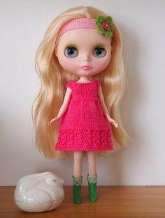 Hot pink knitted Blythe dress by onecraftymumma on Etsy, $20.00