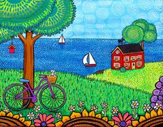 Purple Bicycle in Nova Scotia with Red Cottage Seascape and Cat ORIGINAL painting by Shelagh Duffett via Etsy