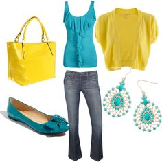 Teal & Yellow