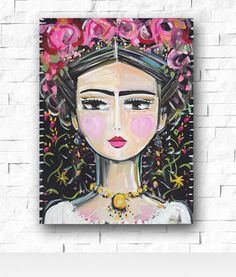 A personal favorite from my Etsy shop https://www.etsy.com/listing/276246622/frida-kahlo-painting-roses-pretty