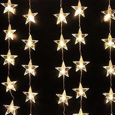 Decorative Warm white LED Star Curtain Light with 54 Clear LED stars. They are a perfect choice to place in a garden, party, wedding,windows,Chrismas tree,table centerpieces or child's bedroom for night lighting. | eBay!