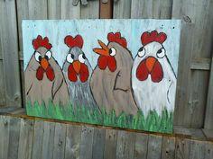 kippen schilderij op pallet