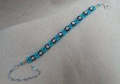 Aqua Turquoise Black Silver White marbled by TheVelvetMannequin
