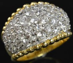 Sterling Silver Gold Vermeil Cubic Zirconia Pave Cluster Dome Band Cocktail Ring #P #Cocktail