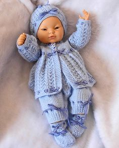 """pdf Knitting Pattern 4 Pce Set in 3 sizes 1. Premature Baby 16/18"""" Doll, 2. Newborn Baby 18/20"""" Doll, 3. 0-3 Month Baby 20/22"""" Doll - STEVE"""