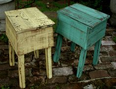love these shabby chic tables.