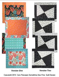 """""""Sliced 'n Diced"""" placemat pattern, in two versions.  Available from www.quiltwoman.com"""