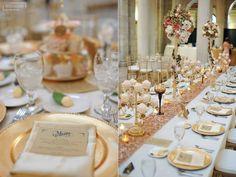 wedding table decor, wedding menu, gold and blush, charger, cupcakes, long table decor, wedding cupcakes, gold chargers, gold ivory and blush wedding colors