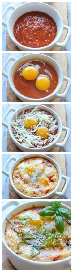Italian Baked Eggs …… Ingredients : 1 cup marinara sauce 4 large eggs cup fat free or lowfat milk cup shredded gruyere cheese 2 tablespoons grated Parmesan Kosher salt and freshly ground black pepper to taste cup basil leaves chiffonade ……. Egg Recipes, Brunch Recipes, Breakfast Recipes, Cooking Recipes, Breakfast Sandwiches, Breakfast Ideas, Shrimp Recipes, I Love Food, Vegetarian Recipes