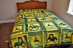 RAG QUILT, Tractor Twin Size Blanket, Made to Order. $282.00, via Etsy. Tractor Quilt, Tractor Decor, Fleece Tie Blankets, Kids Blankets, John Deere Bed, Puff Blanket, Tractors For Kids, Panel Quilts, Rag Quilt