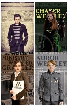 HP - all grown up.would it be ministry worker weasley and chaser potter?? Duh they get married...