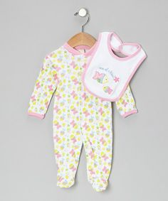 Take a look at this Pink 'One of a Kind' Footie & Bib - Infant by Sweet & Soft on #zulily today!