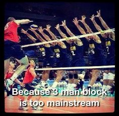 beast volleyball blocking, only one person left in back row! good God
