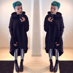 Comfy @killstarco Ritual Hoodie is COMFY! It's like an awesome housecoat to wear outside home. And it has pockets!! Also wearing my @blackmilkclothing Beetlejuice Leggings and my @unif Trench Boots.