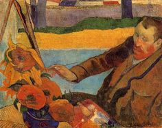 """Van Gogh Painting Sunflowers"" - Paul Gauguin 1888 Breton Period (completed during infamous 2-month stay in Arles--duriing when Vincent got hold of a razor...) Art historians categorize this style as ""Cloisonnism""--"