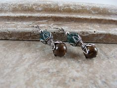 Bronzite, Swarovski Indicolite crystal and sterling silver earrings