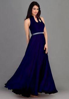 Blue plain georgette stitched salwar