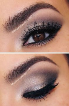 Take a look at these false eyelashes and smokey eye make up. Make those brown eyes a little more stunning with a pair of false eyelashes, smokey eye makeup and a well defined eyebrow. Dark Eye Makeup, Eye Makeup Tips, Smokey Eye Makeup, Love Makeup, Skin Makeup, Beauty Makeup, Makeup Looks, Makeup Ideas, Dark Eyeshadow