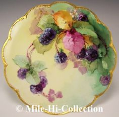 HAND PAINTED BERRIES PLATE SIGNED WELLS