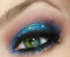 Blue eyeshadow can be very flattering for green eyed girls. Wear this vibrant look out on a weekend.